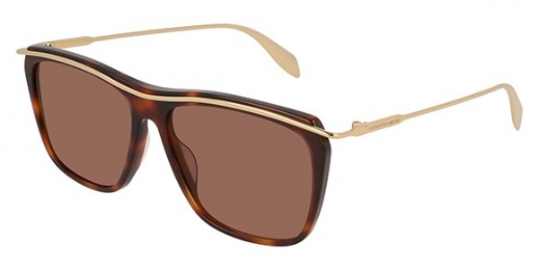 ALEXANDER MCQUEEN AM0143S SHINY MEDIUM HAVANA/SHINY ENDURA GO