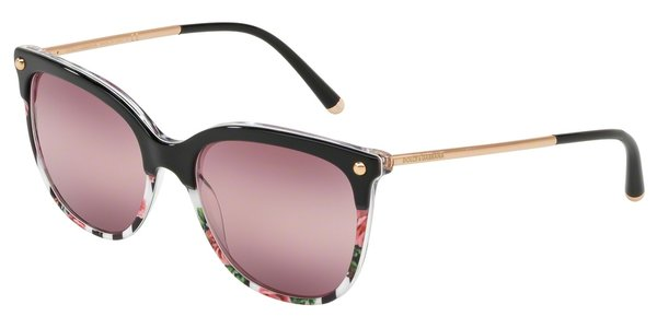 DOLCE & GABBANA DG4333 TOP BLACK ON PRINT ROSE/STRIPE