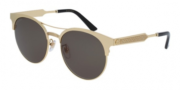GUCCI GG0075S GOLD / GOLD / GREEN