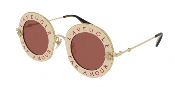 GUCCI GG0113S SHINY IVORY/RED/ENDURA GOLD