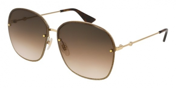 GUCCI GG0228S GOLD / BROWN