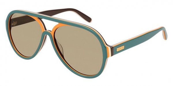 GUCCI GG0270S SHINY MULTILAYER PETROL GREEN-ORANG