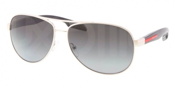 PRADA LINEA ROSSA PS 53PS SILVER BLACK/GREY SHADED POLARIZED