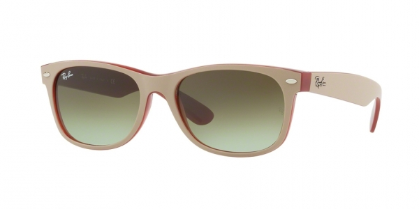 a3a12f9288 RAY-BAN New Wayfarer RB2132 6307A6 MATTE BEIGE ON OPAL RED