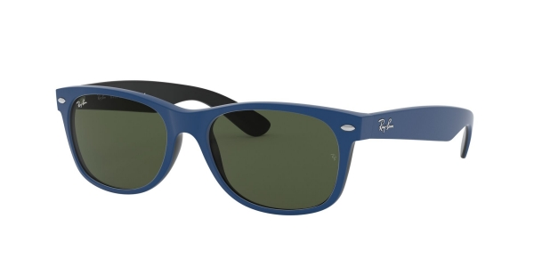 RAY-BAN RB2132 NEW WAYFARER TOP RUBBER BLUE ON SHINY BLACK