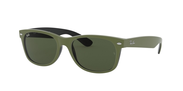 RAY-BAN RB2132 NEW WAYFARER TOP RUBBER MILITARY GREEN ON B