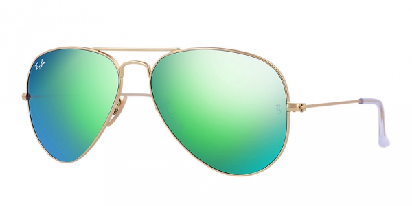 ray ban aviator green gold  Ray-Ban Aviator Large Metal RB3025 112/19 55/14 Sunglasses ...