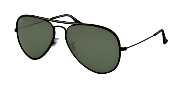 c2a87450ae RAY-BAN Aviator Full Color RB3025JM 002 JET BLACK CRYSTAL GREEN