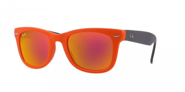 9196532778 RAY-BAN Folding Wayfarer RB4105-601969 MATTE ORANGE CRYSTAL BROWN MIRROR  ORANGE