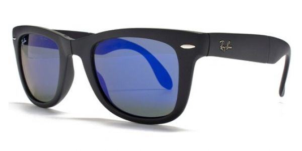 3b1ba22db9 RAY-BAN Folding Wayfarer RB4105-601S68 MATTE BLACK CRYSTAL BLUE