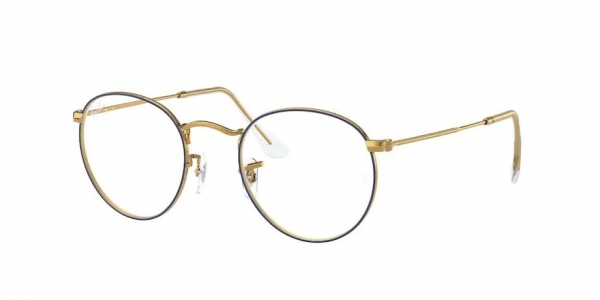 RAY-BAN ROUND METAL RX3447V BLUE ON LEGEND GOLD