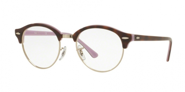 RAY-BAN RX4246V CLUBROUND TOP HAVANA ON OPAL VIOLET