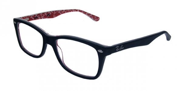 RAY-BAN RX5228 TOP BLACK ON WHITE/RED DEMO LENS